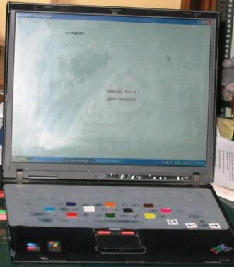 laptop featuring color-coded keys